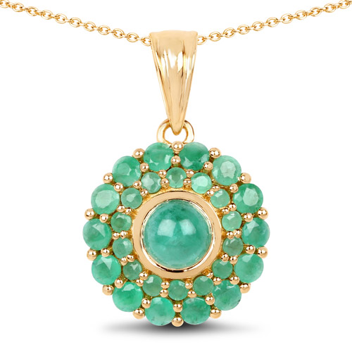 Emerald-14K Yellow Gold Plated 2.19 Carat Genuine Emerald .925 Sterling Silver Pendant