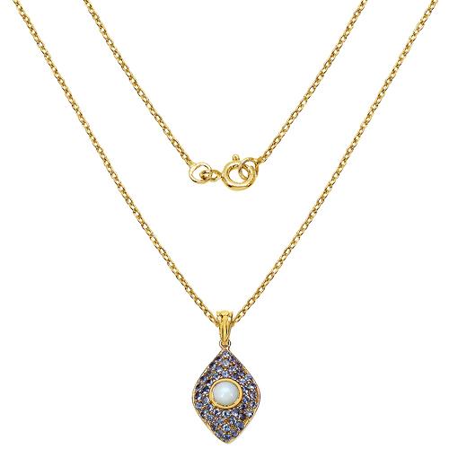 14K Yellow Gold Plated 1.82 Carat Genuine Ethiopian Opal & Tanzanite .925 Sterling Silver Pendant