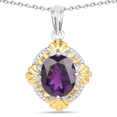 Amethyst-5.50 Carat Genuine Amethyst and Citrine .925 Sterling Silver Pendant