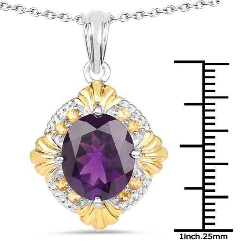5.50 Carat Genuine Amethyst and Citrine .925 Sterling Silver Pendant