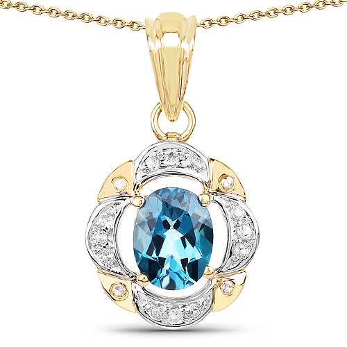 Pendants-14K Yellow Gold Plated 2.22 Carat Genuine London Blue Topaz and White Topaz .925 Sterling Silver Pendant