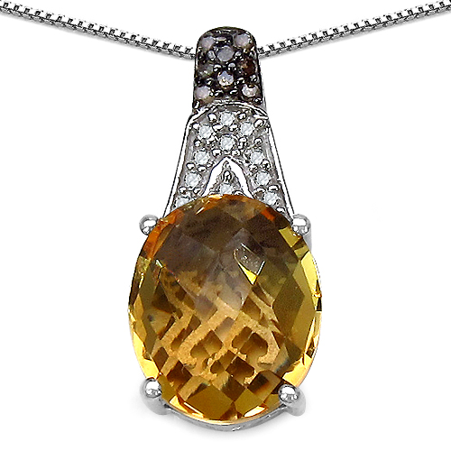 Citrine-4.50 Carat Genuine Citrine, Champagne Diamond & White Diamond .925 Sterling Silver Pendant