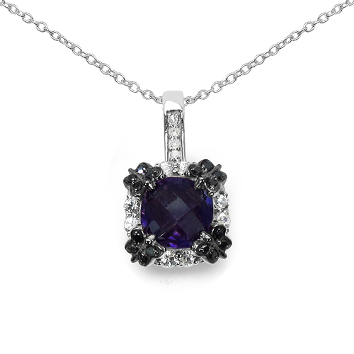 Amethyst-2.38 Carat Genuine Multi Stone .925 Sterling Silver Pendant