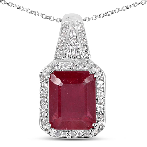 Ruby-4.47 Carat Glass Filled Ruby and White Topaz .925 Sterling Silver Pendant