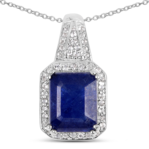 Sapphire-4.72 Carat Glass Filled Sapphire and White Topaz .925 Sterling Silver Pendant