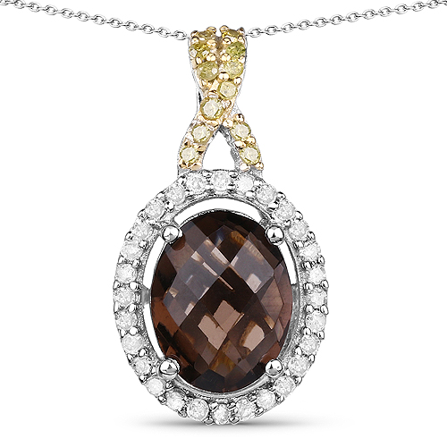 Pendants-1.79 Carat Genuine Smoky Quartz, Yellow Diamond & White Diamond .925 Sterling Silver Pendant