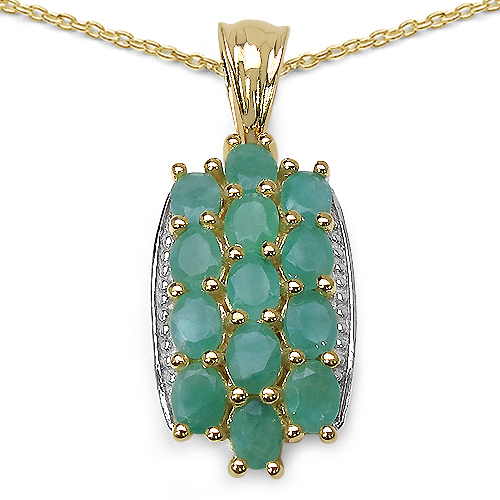 Emerald-14K Yellow Gold Plated 2.60 Carat Genuine Emerald .925 Streling Silver Pendant
