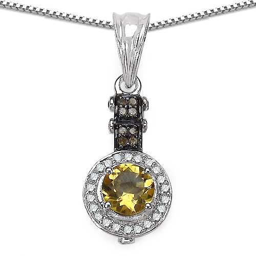 Citrine-1.00 Carat Genuine Citrine, Champagne Diamond & White Diamond .925 Sterling Silver Pendant