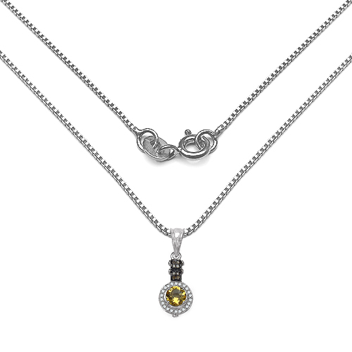 1.00 Carat Genuine Citrine, Champagne Diamond & White Diamond .925 Sterling Silver Pendant