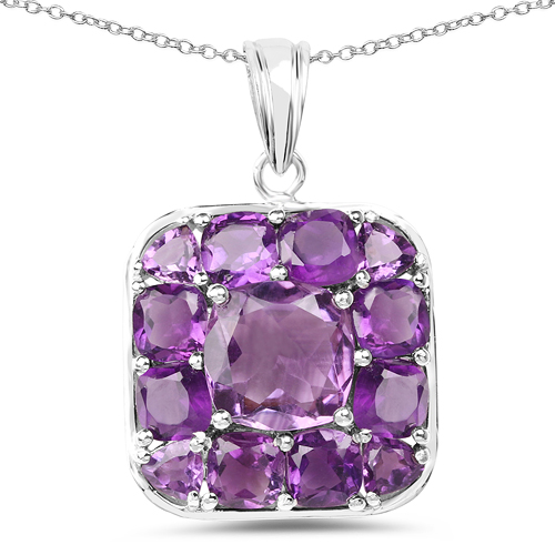 3.34 Carat Genuine Amethyst and White Sapphire .925 Sterling Silver Pendant
