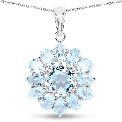 9.49 Carat Genuine Blue Topaz .925 Sterling Silver Pendant