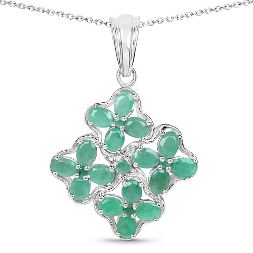 Emerald-2.37 Carat Genuine Emerald .925 Sterling Silver Pendant