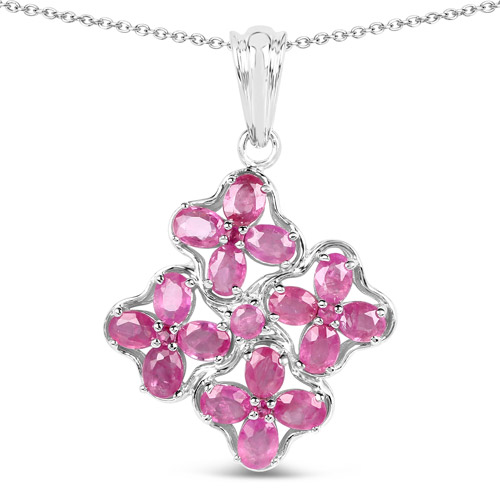 Ruby-3.72 Carat Genuine Ruby .925 Sterling Silver Pendant