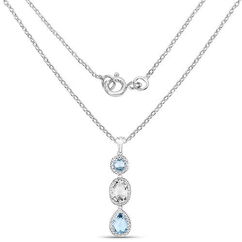 13.10 Carat Genuine Crystal Quartz and Blue Topaz .925 Sterling Silver Pendant