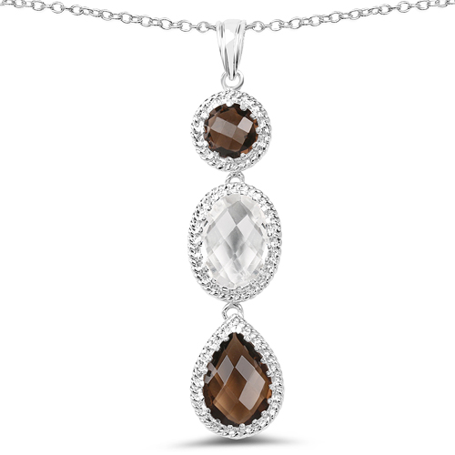 Pendants-12.14 Carat Genuine Crystal Quartz & Smoky Quartz .925 Sterling Silver Pendant