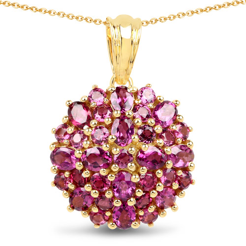 Rhodolite-14K Yellow Gold Plated 4.24 Carat Genuine Rhodolite .925 Sterling Silver Pendant