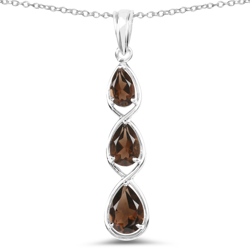 Pendants-3.66 Carat Genuine Smoky Quartz .925 Sterling Silver Pendant