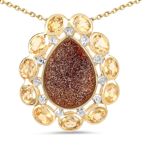 Pendants-14K Yellow Gold Plated 5.14 Carat Genuine Red Droozi and Citrine .925 Sterling Silver Pendant