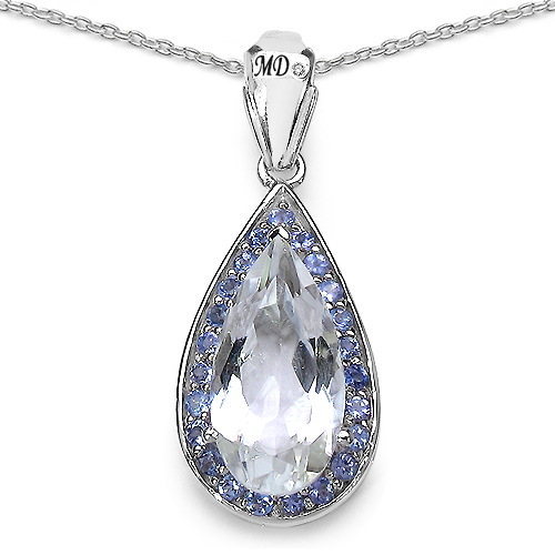 Pendants-6.04 Carat Genuine Crystal Quartz, Tanzanite & White Diamond .925 Sterling Silver Pendant