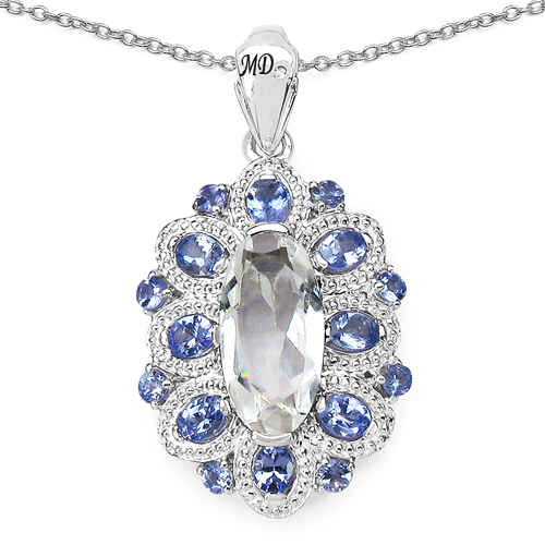Pendants-6.10 Carat Genuine Crystal Quartz, Tanzanite & White Diamond .925 Sterling Silver Pendant