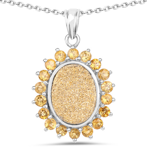 Pendants-7.70 Carat Genuine Golden Drusy and Citrine .925 Sterling Silver Pendant