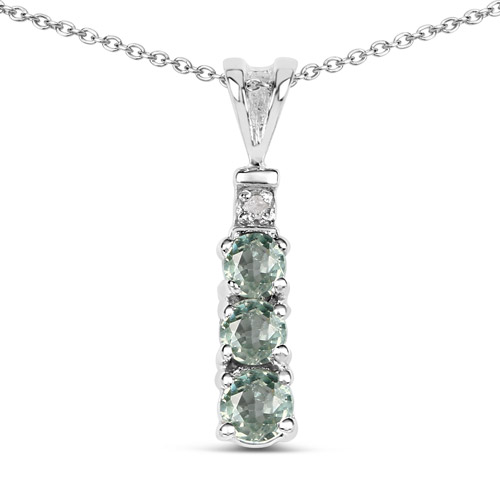 Sapphire-0.31 Carat Genuine Green Sapphire and White Diamond .925 Sterling Silver Pendant