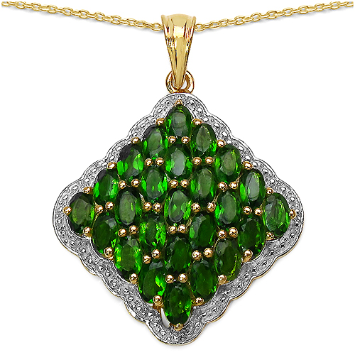 Pendants-14K Yellow Gold Plated 5.50 Carat Genuine Chrome Diopside.925 Sterling Silver Pendant