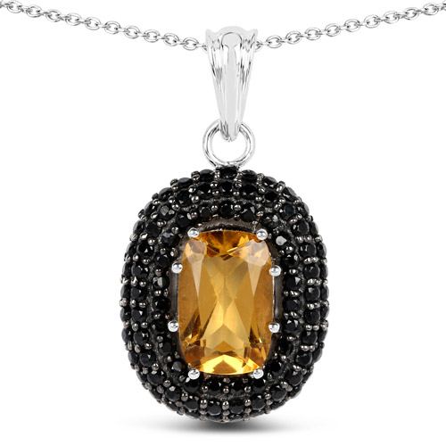 Citrine-5.85 Carat Genuine Citrine and Black Spinel .925 Sterling Silver Pendant