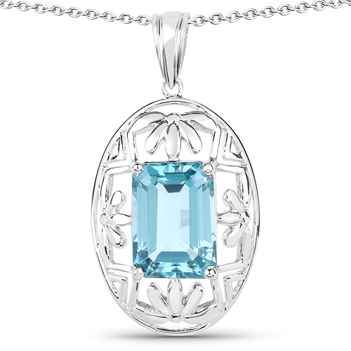 Pendants-9.60 Carat Genuine Green Topaz .925 Sterling Silver Pendant