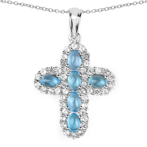 Pendants-5.96 Carat Genuine Swiss Blue Topaz and White Topaz .925 Sterling Silver Pendant