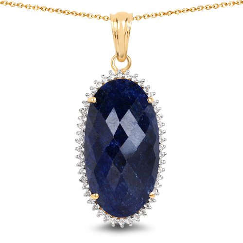 Sapphire-14K Yellow Gold Plated 22.78 Carat Dyed Sapphire and White Topaz .925 Sterling Silver Pendant