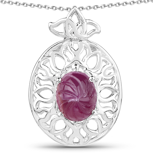 Ruby-3.90 Carat Genuine Ruby .925 Sterling Silver Pendant