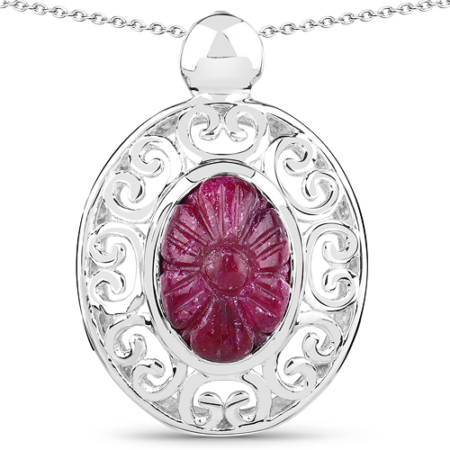 Ruby-10.53 Carat Genuine Ruby .925 Sterling Silver Pendant