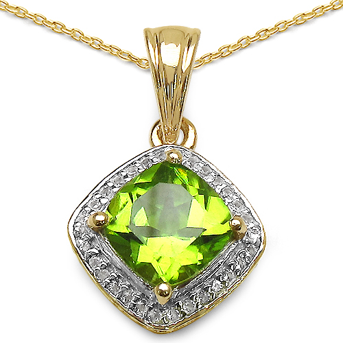 14K Yellow Gold Plated 2.31 Carat Genuine Peridot & White Topaz .925 Sterling Silver Pendant