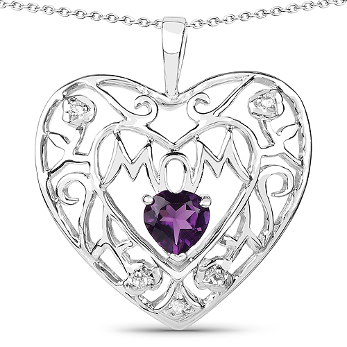 Amethyst-0.50 Carat Genuine Amethyst and White Topaz .925 Sterling Silver Pendant