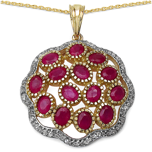 Ruby-14K Yellow Gold Plated 4.00 Carat Genuine Ruby & White Topaz .925 Streling Silver Pendant