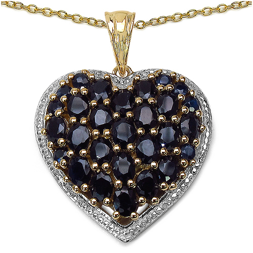 Sapphire-14K Yellow Gold Plated 5.48 Carat Genuine Sapphire .925 Streling Silver Pendant