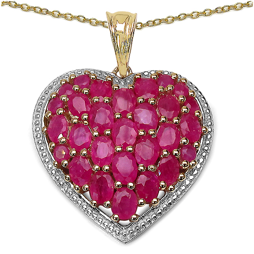 Ruby-14K Yellow Gold Plated 5.48 Carat Genuine Ruby .925 Streling Silver Pendant