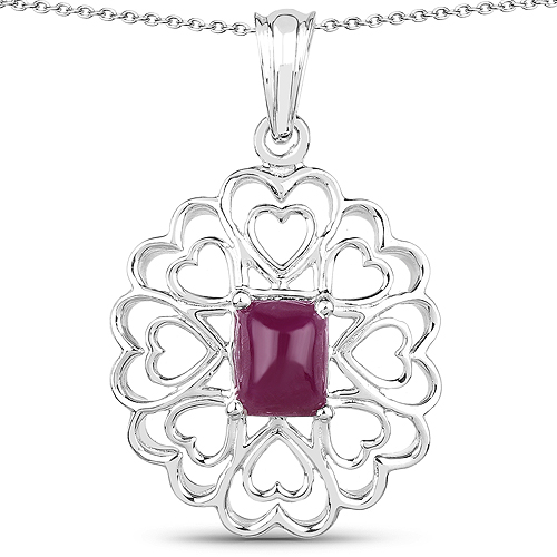 Ruby-3.48 Carat Genuine Ruby .925 Sterling Silver Pendant