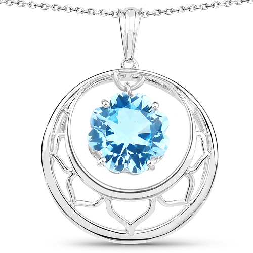 Pendants-8.75 Carat Genuine Swiss Blue Topaz .925 Sterling Silver Pendant