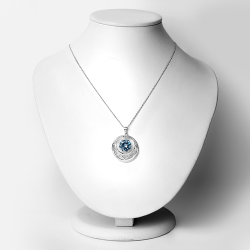 8.75 Carat Genuine Swiss Blue Topaz .925 Sterling Silver Pendant