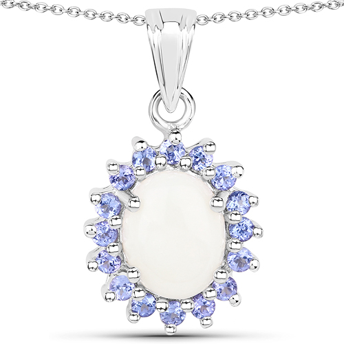 Opal-2.26 Carat Genuine Opal and Tanzanite .925 Sterling Silver Pendant