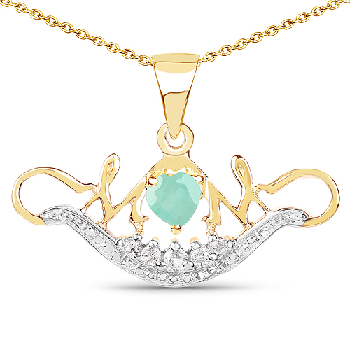 14K Yellow Gold Plated 0.62 Carat Genuine Emerald and White Topaz .925 Sterling Silver Pendant