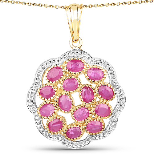 Ruby-14K Yellow Gold Plated 3.08 Carat Genuine Ruby .925 Sterling Silver Pendant