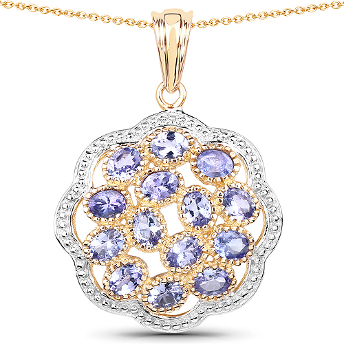 Tanzanite-14K Yellow Gold Plated 2.38 Carat Genuine Tanzanite .925 Sterling Silver Pendant