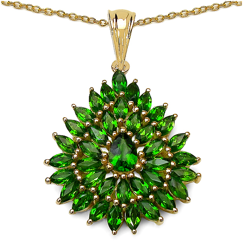 Pendants-14K Yellow Gold Plated 3.36 Carat Genuine Chrome Diopside.925 Sterling Silver Pendant