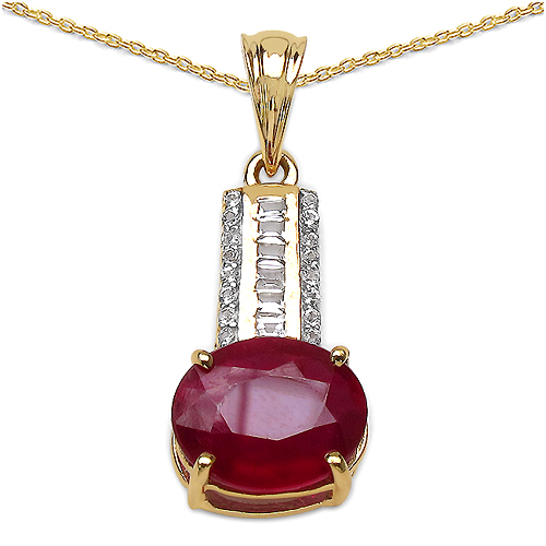 Ruby-14K Yellow Gold Plated 4.40 Carat Genuine Ruby & White Topaz .925 Streling Silver Pendant