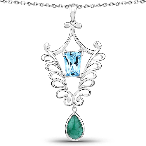 Emerald-9.23 Carat Genuine Emerald and Swiss Blue Topaz .925 Sterling Silver Pendant
