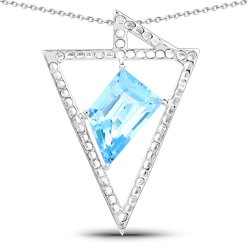 Pendants-5.00 Carat Genuine Swiss Blue Topaz .925 Sterling Silver Pendant