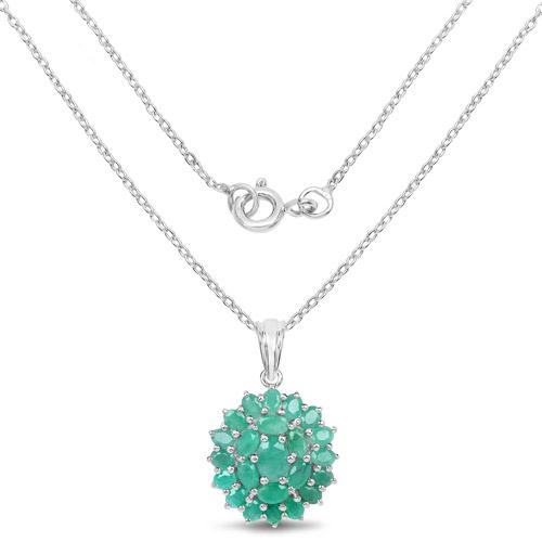4.09 Carat Genuine Emerald .925 Sterling Silver Pendant